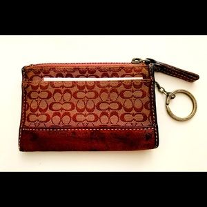 Vntage Coach Signature Coin Purse Keychain Wallet